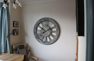 shabby chic wall clock with roman numerals