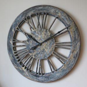 grey shabby chic wall clock