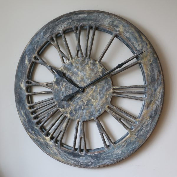 grey shabby chic wall clock