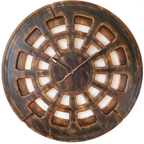 Artistic Living Room Wall Clock Made of Wood and Hand Painted