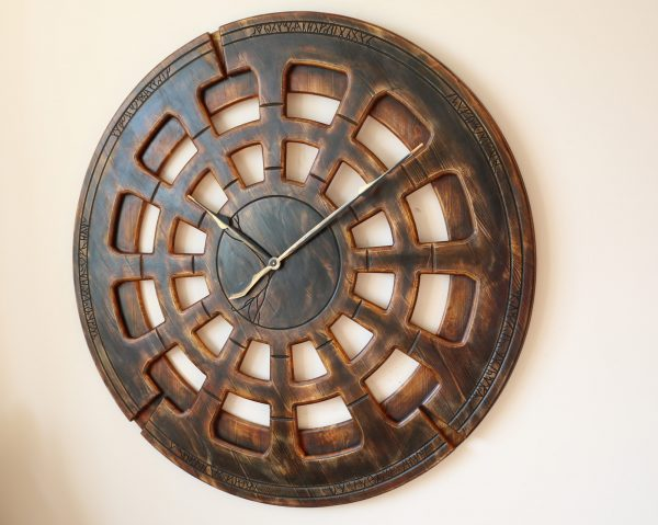 wooden living room wall clock