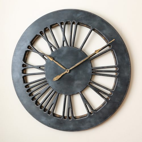 Grey Wall Clock Left- golden hands