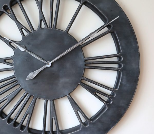 Grey Clock with silver hands