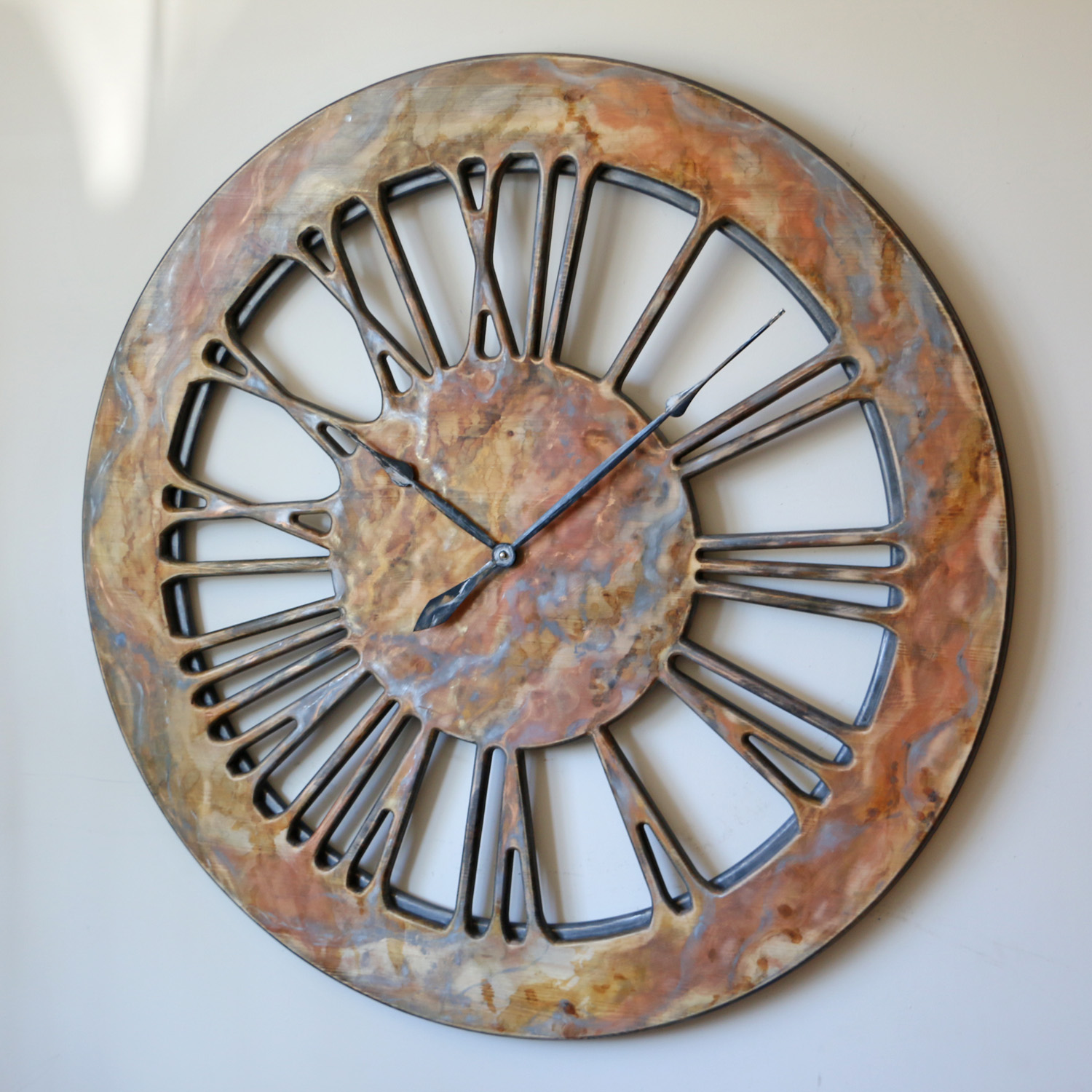 Beautiful Oversized Wall Clock Skeleton Roman Numeral Design