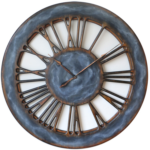 Roman Numeral Wall Clock - Cloudy Grey Front
